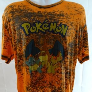 Pokemon Mens Sz L T-Shirt Orange Distressed